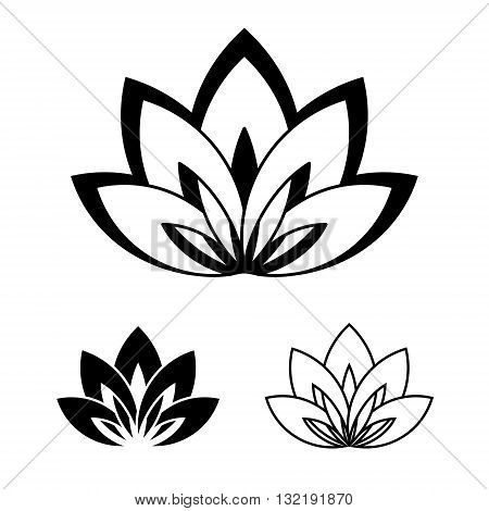 Five-petals Lotus flower as symbol of yoga. Vector illustration for yoga event school club web spa tattoo. Symbol of beauty and youth. Black and white colors.