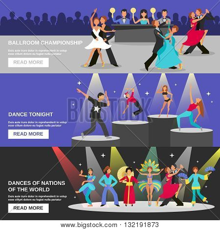 Color flat banners depicting different type of dance ballroom championship dance tonight national dance vector illustration