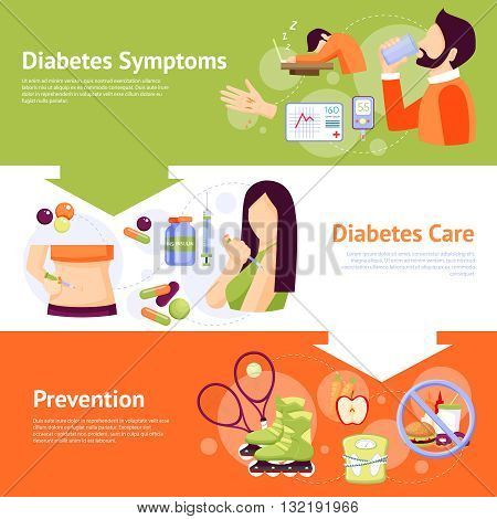 Diabetes prevention symptoms and care concept 3 flat horizontal banners set abstract isolated vector illustration