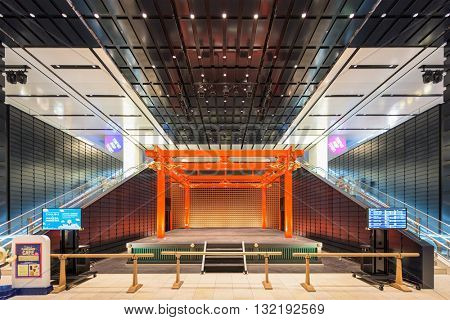 TOKYO - SEPTEMBER 1, 2015: The traditional stage in Haneda Airport. The stage is part of the Edo Market inside the terminal.