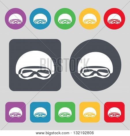 In A Ski Masks, Snowboard Ski Goggles, Diving Mask Icon Sign. A Set Of 12 Colored Buttons. Flat Desi