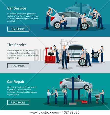 Flat horizontal banners with scenes presents workers in car service tire service and car repair vector illustration