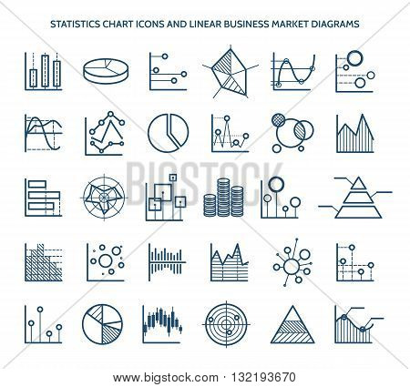 Statistics chart icons and linear business market diagrams. Bar and pie, area and pyramid. Vector illustration