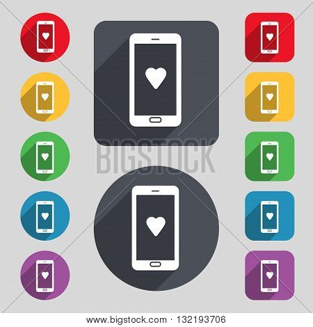 Love Letter, Valentine Day, Billet-doux, Romantic Pen Pals Icon Sign. A Set Of 12 Colored Buttons An