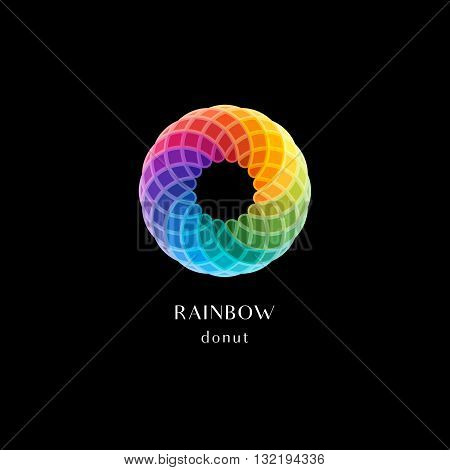 Vector Abstract Logo Symbol. Circle Rainbow Colored Icon in Shapes of Donut. Round Design Element.