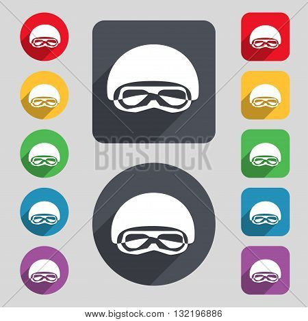 In A Ski Masks, Snowboard Ski Goggles, Diving Mask Icon Sign. A Set Of 12 Colored Buttons And A Long