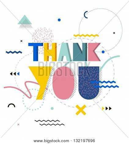 Thank you lettering hand. Hand-drawn poster with gratitude quote in Memphis retro style. Bright print pattern background banner.