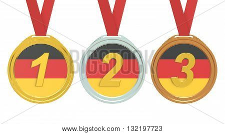 Gold Silver and Bronze medals with Germany flag 3D rendering isolated on white background