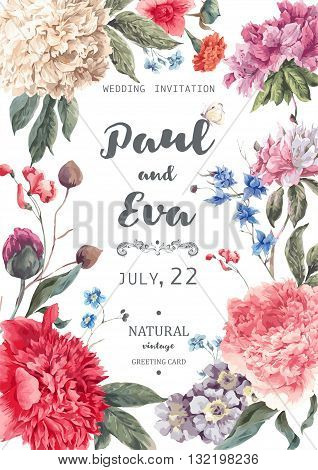 Vintage floral vector wedding invitation with peonies and garden flowers, botanical natural peonies Illustration. Summer floral peonies greeting card