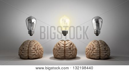 Concept Idea Arose Three Brain Lie On The Floor And One Of Them Emits Light Bulbs 3D Rendering On A