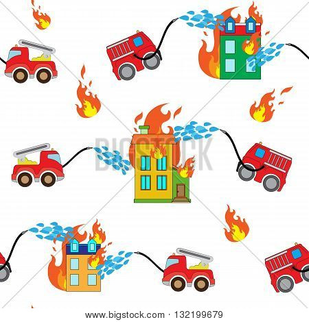 Seamless pattern with firetrucks and buildings with white background.