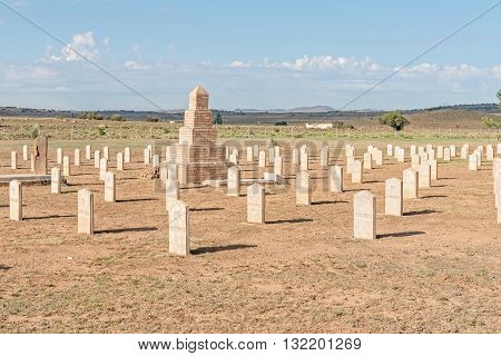 The war cemetery with graves of 299 British soldiers who died in hospital and 663 Boers who died in the concentration camp in the Second Boer War 1899-1902