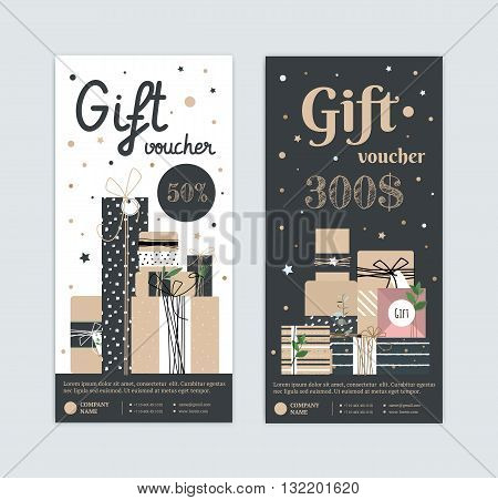 Set of gift certificate with a modern style with kraft boxes. Hipster type certificate for my birthday. Gift box for the holiday. Premium flyer for cosmetics dress a spa as a gift.