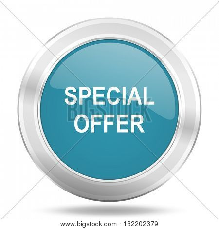 special offer icon, blue round metallic glossy button, web and mobile app design illustration