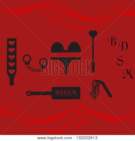 BDSM accessories on a red background, vector illustration