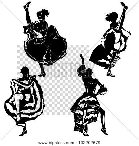 cancan dancers silhouettes set. vector monochrome illustration, transparent background, isolated figures