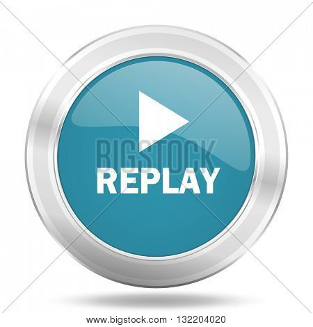 replay icon, blue round metallic glossy button, web and mobile app design illustration