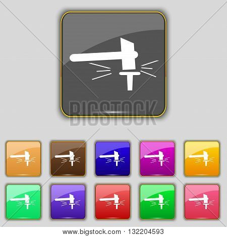 The Smithy. Forge And Stithy, Blacksmith Icon Sign. Set With Eleven Colored Buttons For Your Site. V