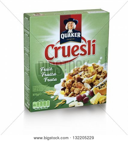 Mallorca Spain -Mai 10 2016: A box of Quacker instant oatmeal. Quaker Oats was founded in 1901. It has been owned by PepsiCo sine 2001.