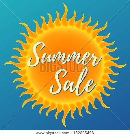 Summer sale banner. Vector illustration on blue background