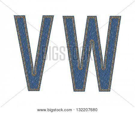 Denim fabric letters. Vector illustration.