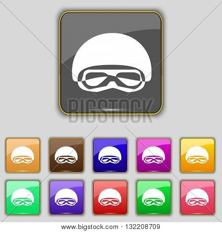 In A Ski Masks, Snowboard Ski Goggles, Diving Mask Icon Sign. Set With Eleven Colored Buttons For Yo