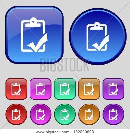 Document Grammar Control, Test, Work Complete Icon Sign. A Set Of Twelve Vintage Buttons For Your De