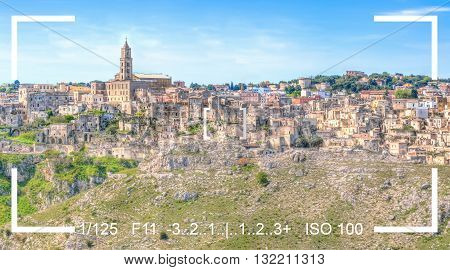 photography focus finder camera view panoramic view of sassi di Materabasilicata Italy. UNESCO European Capital of Culture 2019 under blue sky