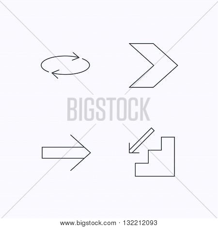 Arrows icons. Downstairs and repeat linear signs. Next arrow flat line icons. Flat linear icons on white background. Vector