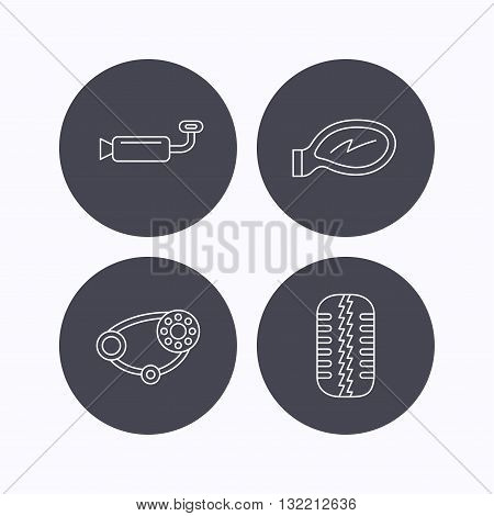 Tire tread, car mirror and timing belt icons. Muffler linear sign. Flat icons in circle buttons on white background. Vector