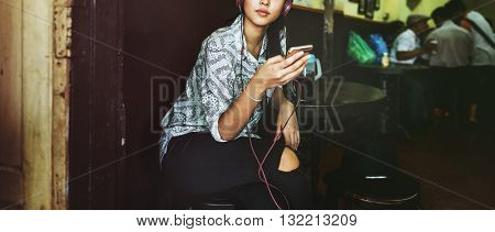 Music Song Playlist Listening Connection Girl Concept