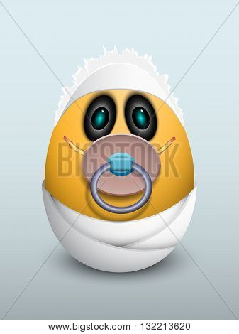Egg Baby With A Pacifier.