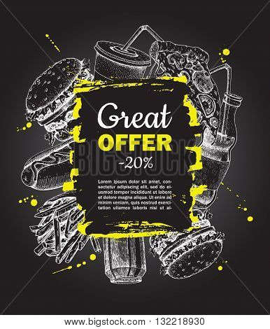 Vector fast food special offer on blackboard. Hand drawn junk food frame illustration. Soda hot dog pizza burger and french fries drawing. Great for label menu poster banner voucher coupon