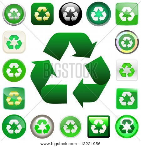 Recycle symbol button. Vector set.