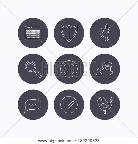 Phone ringtone, chat speech bubble icons. Shield, dialog and magnifier linear signs. Bird, calendar of vacations icons. Flat icons in circle buttons on white background. Vector
