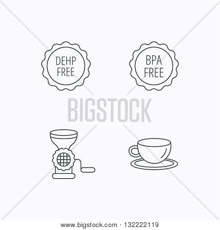 Coffee cup, meat grinder and BPA free icons. DEHP free linear sign. Flat linear icons on white background. Vector