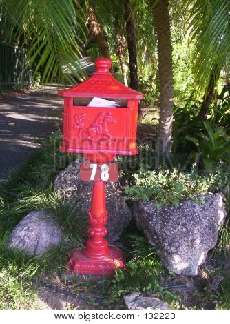 Red Cast Iron Letterbox