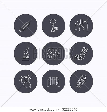 Broken foot, lungs and syringe icons. Stethoscope, pills and microscope linear signs. Bacteria, heart and lab bulbs flat line icons. Flat icons in circle buttons on white background. Vector