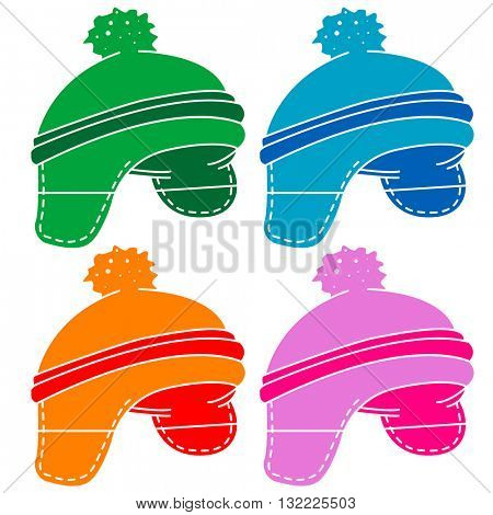 woolen hat cartoon illustration isolated on white