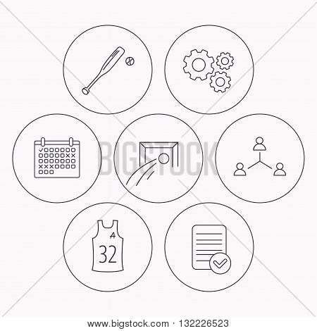 Football, team assistant and baseball icons. Teamwork linear sign. Check file, calendar and cogwheel icons. Vector