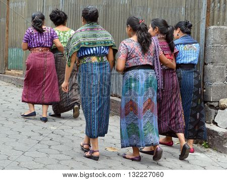 CHICHICASTENANGO GUSTEMALA APRIL 29 2016: Portrait of a Mayan women. The Mayan people still make up a majority of the population in Guatemala,