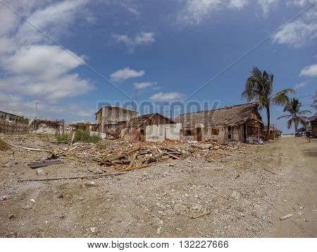 Manabi - 04 May 2016: Coast Cities Destroyed By The Massive Earthquake That Shook Ecuador South America In April 16Th, 2016, In Manabi On May 04 2016