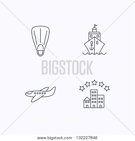 Cruise, flippers and airplane icons. Hotel linear sign. Flat linear icons on white background. Vector