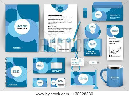 Professional branding design kit with blue circles. Corporate identity template.  Business stationery mockup with badge, folder, cup,  pennant, letter.