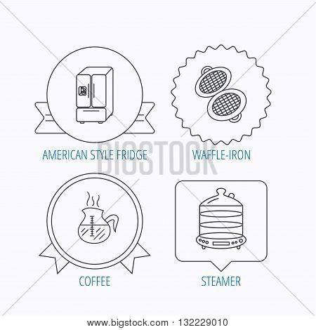 Waffle-iron, coffee and steamer icons. American style fridge linear signs. Award medal, star label and speech bubble designs. Vector