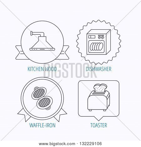 Dishwasher, waffle-iron and toaster icons. Kitchen hood linear sign. Award medal, star label and speech bubble designs. Vector