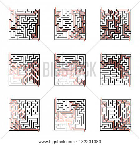 Vector maze set, labyrinth illustration with solution.