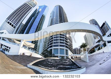 BRISBANE, AUSTRALIA - MAY 25 2016: Fisheye view looking up at the Brisbane cityscape at the Riverside Centre