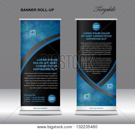 Blue and black banner stand template stand design banner template blue and black banner flyer template advertisement Poster layout template