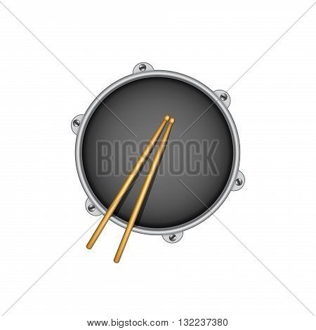 Drum and pair of wooden drumsticks on white background